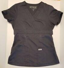 Grey's Anatomy XXS Womens Scrubs Steel Grey Top EUC Button Tabs Cinch Waist