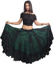 Indiantrend 25 YD (approx. 22.86 m) español danza del vientre falda verde Tie Dye