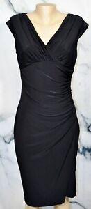 KATE HILL Black Dress 8 Ruched Side Waist Bust Slight Cap Sleeve Versatile