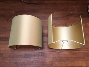 Pair of gold silk Best & Lloyd wall light shades