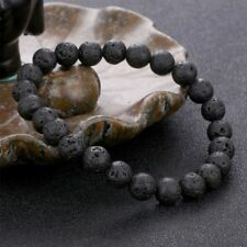 Lava Stone Natural Unisex Beads Bracelet Gift Fashion Jewelry Black