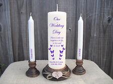Personalised Wedding Unity Candle Set Gift Keepsake Cadbury Purple,OR Any Colour