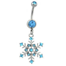 Winter Aqua Blue Snowflake Dangle Charm Navel Belly Ring Body Piercing Jewelry