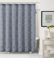 Slate Gray Fabric Shower Curtain With White Embroidered Swirl Circle Design