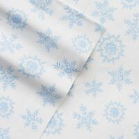 NEW! Cuddl Duds Heavyweight Flannel Sheet Set Blue White SNOWFLAKES Full Queen