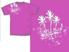 Simple Plan - T-Shirt-Tee-Girly-Small-P ink Palm Trees Logo-Licensed New