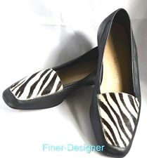 ENZO ANGIOLINI Black white fur Two Tone Leather Flats VERO slide on shoes 6.5 M