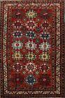 Antique Vegetable Dye Kazak Russia Hand-Made Wool Area Rug Geometric Carpet 7x10