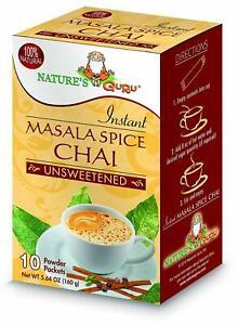 Nature's Guru Instant Masala Spice Chai Tea, Unsweetened, 5.64 Oz, 10 Count