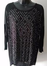 JEANS BY BUFFALO BLACK Stud Embellished Long Sleeve Shirt Women's size Large