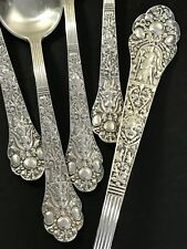 Antique GORHAM Sterling Silver Old Medici pattern Tablespoon + 4 Teaspoons