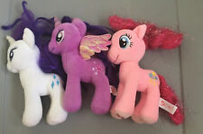 "Lot (3) My Little Pony TWILIGHT SPARKLE, RARITY & PINKIE PIE 7"" Plush Unicorn Ty"