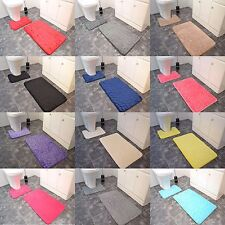 Pebbles Memory Foam Bath & Pedestal Mat Sets Non Slip Soft Luxury Bathroom Rugs