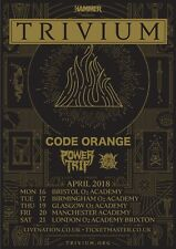 TRIVIUM/CODE ORANGE/POWER TRIP 2018 UK CONCERT TOUR POSTER - Heavy / Prog Music