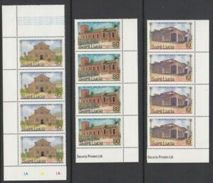 1986 St Lucia Christmas Blocks of 4 mint stamps