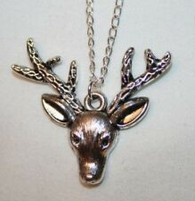Delightful Silvertone Reindeer Head Rudolph Christmas Pendant Necklace +++