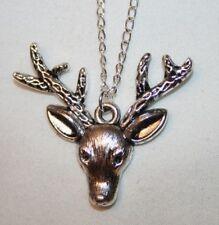 Delightful Silvertone Reindeer Head Rudolph Christmas Pendant Necklace +++