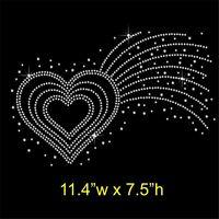 Shooting Love Heart Rhinestone / Diamante Hotfix Iron on Transfer Motif Appliqué