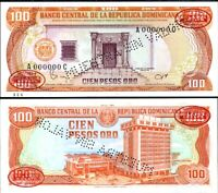DOMINICAN REPUBLIC 100 PESOS 1984 P 122 S SPECIMEN UNC