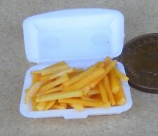 1:12 Scale Take Away Chips Fries Portion In Plastic Box Tumdee Dolls House Food