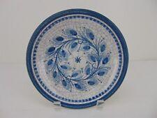 """Vintage Austrian Handarbeit Gmunden Crackle 8"""" Glaze Blue Floral Wall Plate"""