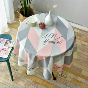 Plaid Round Tablecloth Simple Waterproof Restaurant Hotel Household Table Cloth