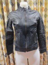 womens SIRICCO stylish black leather jacket SZ XS 6-8