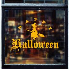 Happy halloween grande fenêtre mur autocollant vinyle autocollant sorcière balai sinistre effrayant