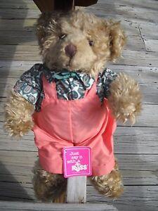 RUSS Luv Pet Fuzzy  Plush brown tan Bear shirt pink over alls