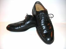 JOHNSTON & MURPHY black LEATHER WINGTIP OXFORDS SIGNATURE SERIES sz. 9 1/2 MED
