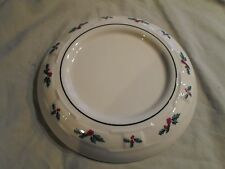 Longaberger Pottery Woven Tradition Holly Berry Pillar Candle Plate