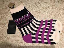 Ladies BURBERRY knitted cashmere/wool blend socks purple fairisle Patchwork