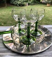 Antik 4x Jugendstil Glas Römer Weinglas Eichstrich 0,2 L grün optisch gerippt