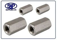 M5 TO M24 A2 STAINLESS STEEL STUDDING CONNECTOR HEX CONNECTOR DEEP NUT ST/ST A2