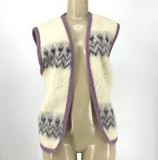 Eider Knit Hand Made 100% Wool Vest Cardigan Made in Iceland Women Sz S I1