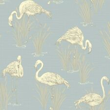 Lagoon Soft Blue Flamingo Wallpaper by Arthouse Vintage 252605