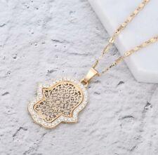 Gold Hamsa Hand of Fatima Pendant Necklace Evil Eye Filigree Necklace