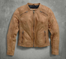 Harley Davidson Womens Buff Washed Perforated Brown Leather Jacket 97154-16VW XL