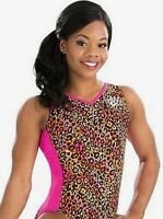 GK ELITE Gabrielle GYMNASTICS Leopard LEOTARD Pink Black Gabby Douglas  Sz: AS