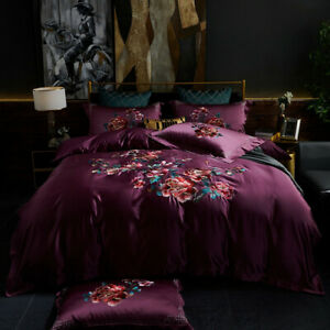 Bedding set 4pcs Luxury real silk & cotton embroidered quilt cover bed sheet set