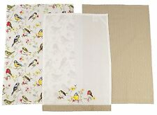 PACK OF 3 BIRD BRANCH EMBROIDERED POLKA DOT 100% COTTON TEA TOWELS 65CM X 45CM