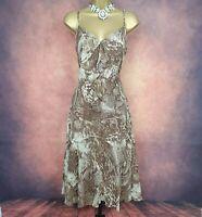 Ladies Per Una Brown/Beige Chiffon Animal Print Fit & Flare Midi Dress Size 16