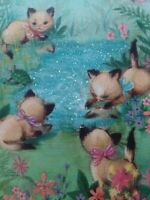 Vtg KITTENS Cats Play GLITTER Water BIRTHDAY Fine Arts Series GREETING CARD