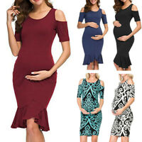 Women Pregnancy Maternity Party Cocktail Off Shoulder Bodycon Short Sleeve Dress