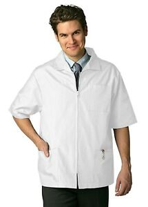 Adar Universal Men's Zippered Short Sleeve Scrub Jacket (Available in 7 solid...