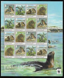 FALKLAND ISLANDS WWF SHEETLET - SOUTHERN SEA LION VF MNH