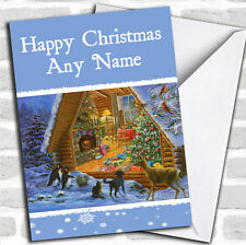 Animaux coup d'oeil Noël personnalisées carte personnalisé