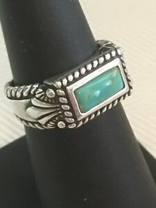Beautiful Carolyn Pollack Sterling Silver Turquoise Ring Size 61/8