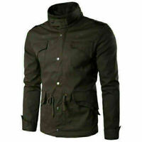 Men's Slim Fit Stand Collar Coat Tops Military Jacket Winter Outwear Overcoat