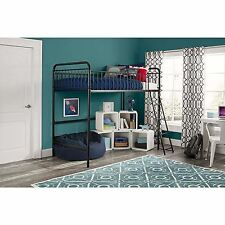 Twin Size Metal Frame Kids Youth Loft Bunk Bed w/ Guardrails and Ladder-Black